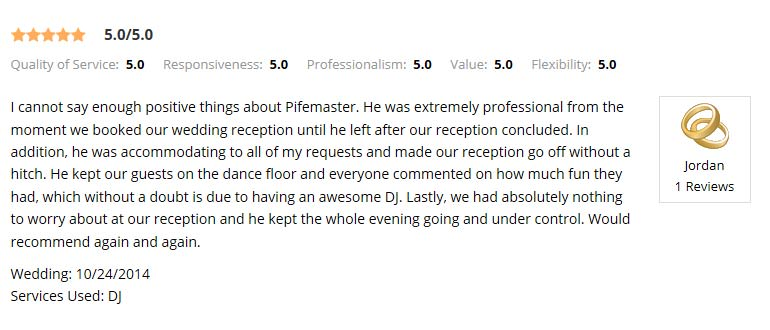 Wedding Wire Review from a former DJ Client