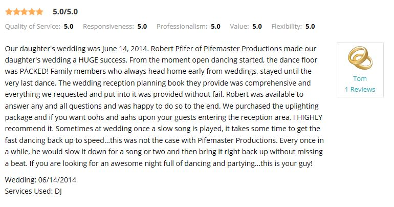 Wedding Wire review from a former wedding client