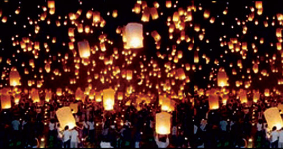 Mass release of Wish Lanterns